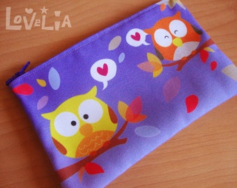 Purple Pencil case / Cosmetic bag RainbOWLS