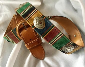Guatemalan Textile Genuine Leather Belt with Concha Medallions