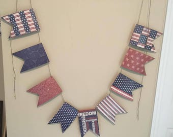 Reversible 4th of July paper banner/paper banner/paper garland/fourth of july/july 4th/patriotic decorations/patriotic/americana decor/paper