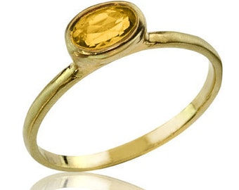 Solitaire Citrine Ring, Engagement Ring, Citrine Jewelry, Citrine Birthstone Ring, Stackable Ring, Oval Cut, Citrine Engagement Ring