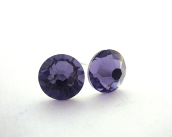 Swarovski Crystal Stud Earrings, Purple Stud Earrings, Crystal Earrings, Purple Earrings, Post Earrings, Tanzanite, Bridesmaid Earrings