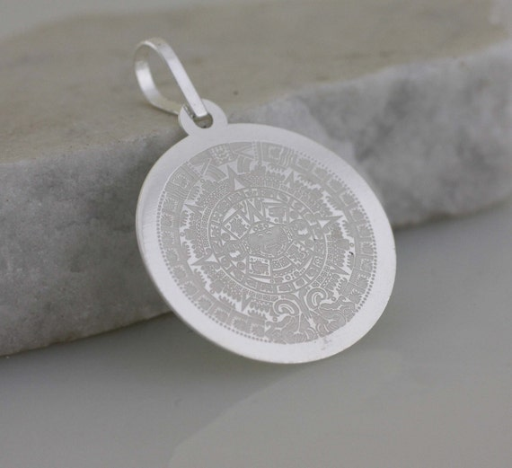 Sterling silver aztec calendar necklace sterling silver aztec aloadofball Image collections