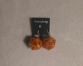 Orange W/Black D20 Vortex Charm Sterling Silver Shepherds Hooks with Loop earrings - 16mm