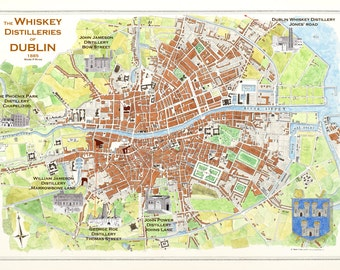 The Historic Whiskey Distilleries of Dublin City 1880 Art Print, Whiskey art, Irish Whiskey picture, whiskey poster