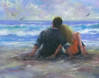 Beach Lovers Art Print beach couple beach paintings wall art hugging romantic beach paintings, Vickie Wade art