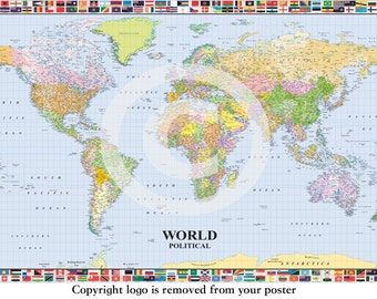 Political world map etsy political world map poster with country flags border gumiabroncs Gallery