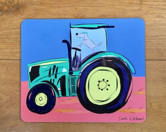 Tractor Placemat - Dog Driving Tractor - Tractor - Gift For Him - Farming Gift - Tractor Gift - Dog Placemat - Dog Lover Gift - Funny Gift