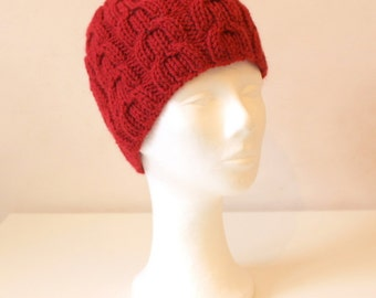 Hand knit red cable hat in alpaca wool