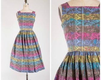 Vintage 1950s Dress • Frolic Free • Novelty Print Pink Blue Yellow Cotton 50s Vintage Dress with Full Skirt Size Medium