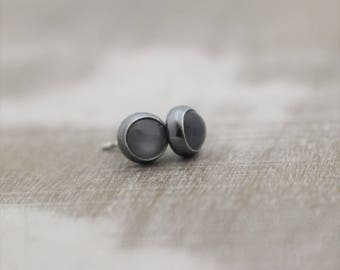 Gray Moonstone Stud Earrings - Sterling Silver Gemstone Studs Earrings - Moonstone Jewelry