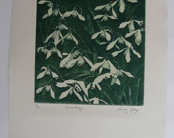 Snowdrops Original Etching