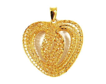 Limited Edition - 18K 21K 22K Yellow Gold Heart Pendant Necklace Beautiful Jewelry for Her