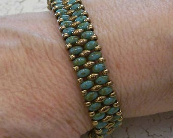 Green Superduo, Bronze superduo, and Galvanized Bronze Seed Bead Band Bracelet by Carol Wilson of Je t'adorn