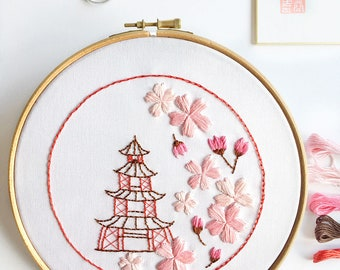 Yume = Dreams come true Hand Embroidery PDF Pattern - Japanese Embroidery Design - Cherry Blossom Embroidery Pattern