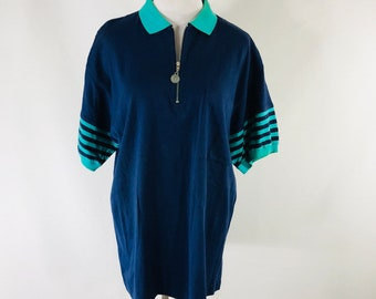 Vintage 70s Kenny Rogers 1/4 Zip Blue Green Polo Shirt Size Medium