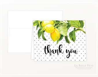 WATERCOLOR LEMON and Swiss Dots Thank You Cards