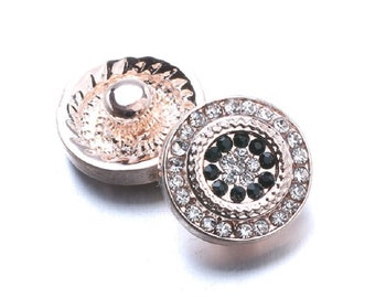 rose gold metal snap button and rhinestone/button chunk metal rose gold and black rhinestone and transparent 12mm