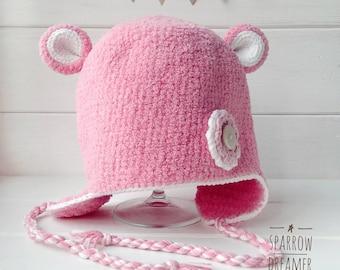 Baby hat Сrochet newborn hat Crochet bear hat Plush pink hat Plush bear hat Baby girl hat Animal hat Bear photo prop Crochet hats