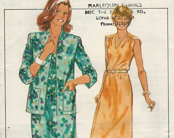 Style 3299 Loose fit sleeveless dress v neck gathered to forward shoulder seams and unlined jacket Size 14 uncut sewing pattern