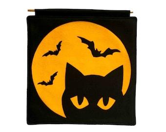 Black Cat and Bats under a Full Moon Eco Felt Banner