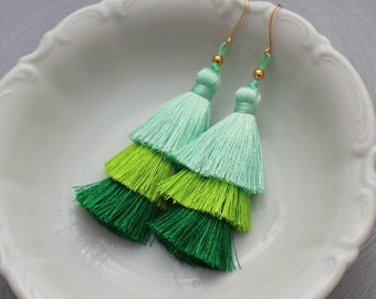 Tiered Tassel Earrings, Ombre Tassel, Green Tassel Earrings, Aqua Tassel Earring, Statement Earrings, Green Earrings, Stacked Earrings, Boho