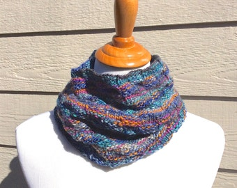 Hand Knit Cowl - Colorful Knit Cowl - Colorful Cowl - Basket Weave - Multi Colored Cowl - Hand Knit Scarf - Colorful Knit Scarf