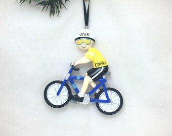 Cyclist Personalized Christmas Ornament / Cycling / Bike Ornament / Biking Ornament / Triathlon / Hand Personalized