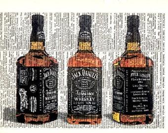 "Dictionary Art Print,Vintage poster,Gift Digital print,drawing,Vintage Poster,Bar Office kitchen Drinks Home decor ""Bar 3 Jack Daniels """