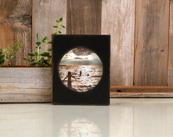 4x4 Pine Circle Opening Picture Frame in Vintage Black - IN STOCK - Same Day Shipping - 4 x 4 inch Circle Round Picture Frame Black