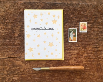 Congratulations Stars, Letterpress Note Card, Blank Inside