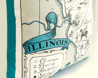 Illinois State Pillow Cover with Insert