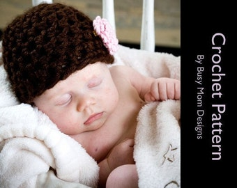 CROCHET PATTERN - Simplicity Beanie - Preemie to 3 Month - Fast and Easy  - Great Beginner Pattern - PDF 112 - Sell what you Make
