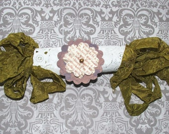 Crinkled Seam Binding Ribbon - Olive with Embellishment 5 Yards, Rustic, Shabby Chic, Beach, Cottage, French Country, Wedding, Scrapbooking