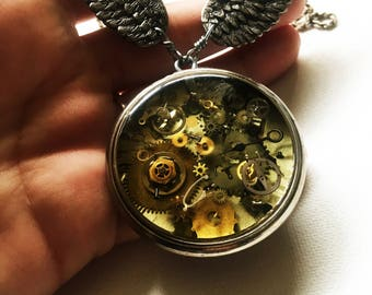 Time flies steampunk resin necklace