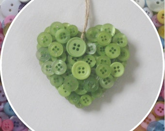 Handmade Light Green Button Hanging Hearts