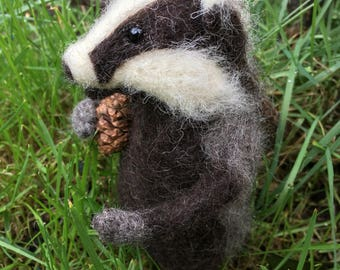 Billy the Badger needle felted toy