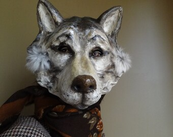 Masquerade masks Paper mache wolf mask wolf costume