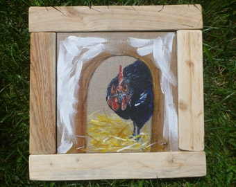 Chicken acrylic painting on canvas Board