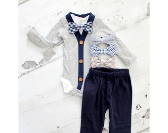 Baby Boy Newborn Coming Home Outfit Set of up to 3 Items. Cardigan Bodysuit, Bow Tie Bodysuit, & Pants. 1st Birthday, Christmas Holiday