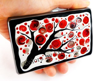 RFID Metal Accordion Wallet with Organizer Hand Painted Enamel Red and White Blossom Inspired with Personalized Option