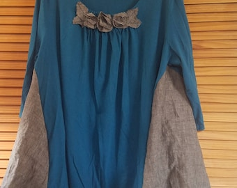 Floral Ruffled Color block Top 2x XXL 3x Shirt Blouse Lagenlook Blouse XXXL Plus Size Recycled Clothing Teal Blue Gray Charcoal Linen