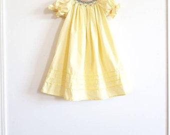Vintage Yellow Smocked Girl's Dress