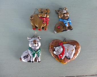 Set of 4 Vintage Molded Pig Ornaments