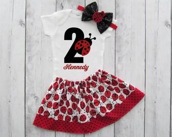 Ladybug Second Birthday Outfit - girl birthday outfit, red black, ladybug headband, ladybug birthday, ladybug headband