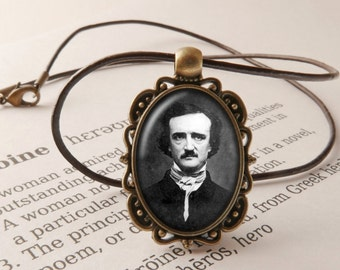 Edgar Allan Poe Pendant Necklace - Edgar Allan Poe Jewelry, Steampunk Necklace, Gothic Poetry Pendant, Edgar Allan Poe Jewellery