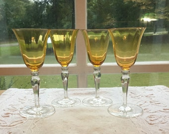 Tiffin Optic Wine Glasses, 3 oz. in Topaz, single lot of 2. 1930's