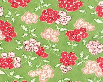 Fabric by Moda: Hello Darling by Bonnie and Camille, green with red and pink flowers