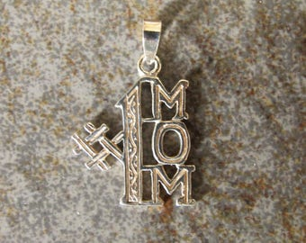Sterling silver #1 MOM charm. Textured charm. 20 x 25mm. Solid Sterling silver Mother charm pendant. Mother's day