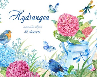 watercolor clipart,flowers clipart, flowers, hydrangeas ,Lupin birds and butterflies 32 elements on a transparent background