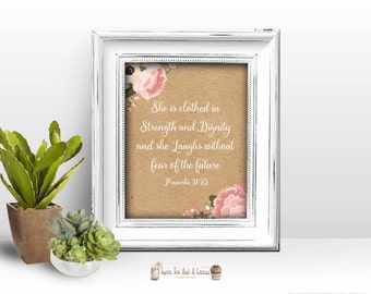 Bible Verse Wall Art Proverbs 31 25 Printable Home Decor Office Strength and Dignity Kraft Paper Flower Floral Pink Peach Wisdom Woman